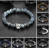 ingrosso braccialetti dell'occhio della tigre argento-braccialetto pandora all'ingrosso moda donna uomo placcatura oro argento bracciale in cristallo lava pietra scheletri occhio di tigre gioielli braccialetto di perle