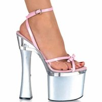 Wholesale Sexy Platform Wedding Sandals - Shining Silver 18CM Sexy Super High Heel 7 inch Platforms Pole Dance sandals Star Model Shoes sexy Wedding Shoes