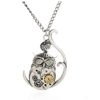 Wholesale Vintage Owl Clocks - freeshipping 2016 hot sall Vintage Steampunk Necklace Antique Owl Clock Pendant Mechanical Gear Chain Necklace Punk Jewelry For Men Women