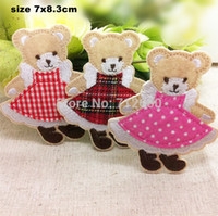 Wholesale Wholesale Bear Patches - new arrival mixed 15 pcs cartoon bears Embroidered patches iron on cartoon Motif Applique embroidery accessory