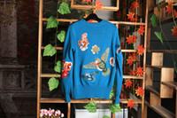 Wholesale Embroidery Wool Beads - 2016 Blue Birds Flower Snake Embroidery Bees Beads Rabbit Wool Women's Sweater Long Sleeves Women's Pullovers 92104