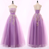 Wholesale Empire Embroidered Prom Dress - Lace Embroidered Strapless Prom Dress Light Purple Organza A Line Formal Evening Party Gown Custom Speical Occasion Dresses 2 4 6 8 10 12 14