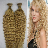 Wholesale I Tip Curly Hair Extensions - Blonde Brazilian Hair Keratin Fusion Hair Extensions I Tip Hair Extensions 100g Afro Kinky Curly
