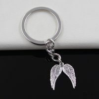 Wholesale Metal Rings Wings - Fashion diameter 30mm Key Ring Metal Key Chain Keychain Jewelry Antique Silver Plated angel wings 21*19mm Pendant