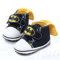 Wholesale Newborn Batman - 2016 Newborn Baby First Walkers Shoes Batman Infant Boys Girls Anti-Slippery Toddler Baby Shoes Wholesale Free Shipping