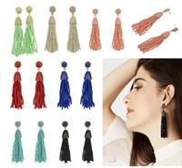 Wholesale Brass Glass Chandelier - Women'S Beaded Tassel Earrings Long Drop Earrings 7 Colors Glass Seed Bead Tassel Earrings For Woman Christmas Wedding Gift B659L