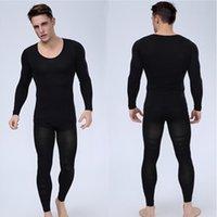 Wholesale Nylon Spandex T Shirt - Wholesale-Mens Bodyshuits Underwear Body Shaper Long sleeve T Shirt And Slimming Pants Spandex Shapewear Male Fitness Clothes Black
