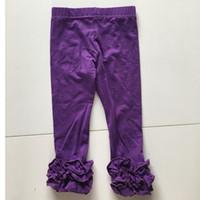 Wholesale White Ruffle Leggings - Purple Ruffle Leggings Baby Girl Icing Tights Custom Made Triple Ruffled Leggings Wholesales Child Legging Classic Legging