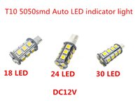 Wholesale 921 Auto Bulb - indicator instrument auto led T10 921 194 5050 SMD 18 24 30 LED clearance auto Bulb lamp White DC 12V