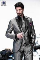 Wholesale Mens Fashion Suits Silver Grey - Wholesale-Fashion Style One Button Silver Grey Groom Tuxedos Groomsmen Mens Wedding Suits Prom Bridegroom (Jacket+Pants+Vest+Tie) NO:667