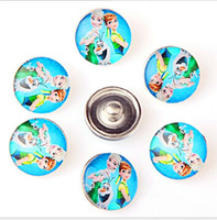 Wholesale Wholesale Character Buttons - Fashion 18MM Snap Buttons Metal Glass Noosa Chunks 10 Mix Cartoon Anna Elsa Minions Style Fit Women Kids Diy Jewelry Charm Button Bracelet