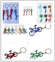 Wholesale Key Couple Cute - 2016 NEW 20pcs 1lot   Cute lover couple Keychain bottle openers Wedding favor gift With bicycle A bottle opener key bottle openers 8 style