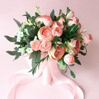 Wholesale Peach Wedding Bouquets - Romantic 2017 Peach Green Hand Made Wedding Flowers Leaves Bridal Bouquets For Garden Beach Country Boho Wedding Bride Bridesmaids EN9182