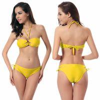 Wholesale Cheap Girls Swimwear - Cheap Bikini UK Vintage Swimwear Beaded Top Cross Ties Girls Swimsuits Butt 2016 Extreme Bikinis Micro Bandeau Bikini Beachwear Bikini Tops
