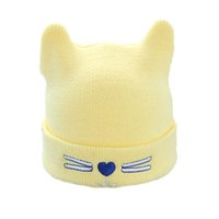 Wholesale Boys Toddler Fitted Caps - Toddler Warm Knitted Earflap Hats Caps Girls Boys Embroidery Cute Kitty Cat Beanie Soft Cotton Hats Christmas Gift for Kids