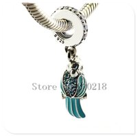 Wholesale Sterling Silver Hang Charms - Fits Pandora Bracelets Tropical Parrot Hanging Silver Beads 2016 Summer Style 100% 925 Sterling Silver Charms DIY Women Jewelry 08401