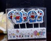 Wholesale Cute Birthday Doraemon - 120sets lot, Cute Doraemon Birthday Parties Home decor Candles Cake Toppers Kids Birthday Candles Cake Decoration