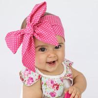 ingrosso banda di panno dei capelli della neonata-Stampa del bambino Fazzoletti di stoffa per fiori Nastro per capelli per bambini bowknot Fasce per capelli Archi per capelli per bambina, fasce per capelli turbante per bambini Accessori per capelli per bambini