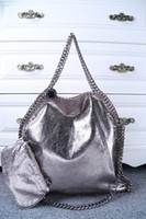Wholesale Over Sized Shoulder Bags - DHL Free Shipping! Medium Size Women's Falabella 3 Chains Fold-Over Crackle Metallic Blue Shoulder Bag , size 36 x 33 x 10cm