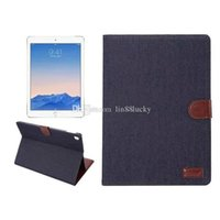 Vintage Canvas Jeans Leather flip Stand Case Magnetic Carteira da capa do livro para Apple iPad tampa articulada pro 9.7inch