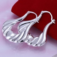 Wholesale Sterling Silver 925 Ear Cuff - Brand new Hollow bag sterling silver plate earring fit women,wedding 925 silver charms earrings EE138