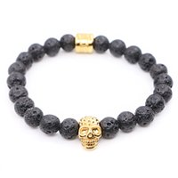 Wholesale Nature Lava Stone Beads with Stainless steel Skull Charms Bracelets Man Women Best Friends Gift pulseira Yoga Jewelry
