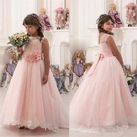 Wholesale pretty puffy dresses for kids for sale - Group buy Pretty Champagne Lace Flower Girls Dresses Mermaid Off Shoulder Ruffles Puffy Tulle Capped Sleeves First Communion Pageant Gowns for Kids
