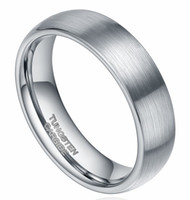 Wholesale Tungsten Dome - 6mm Tungsten Carbide Ring Brushed Dome Wedding Bands Comfort Fit Size 4-15 For Men Women