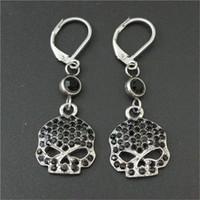 Wholesale Rhinestone Skull Charms - 3pairs lot Personal design black crystal biker earrings 316l stainless steel fashion jewelry hot selling motorbiker skull earrings
