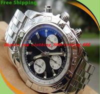 relogios venda por atacado-Homens de luxo Relógios Equipados com caixa de certificado de qualidade superior AB0110 Luxo 44mm Chronomat Aço Azul Vara dos homens relógio do esporte relógio