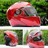 kırmızı yarış kaskı toptan satış-Şeffaf lens Kırmızı renk Kask JIEKAI 105 undrape yüz kask Tam Yüz kask Motosiklet motosiklet motokros kask MOTO Yarış Kaskları