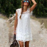 Wholesale Girls White Polka Dot Dresses - Summer Dress 2016 Sexy Women Casual Sleeveless Beach Short Dress Tassel Solid White Mini Lace Dress Vestidos Plus Size S--5XL