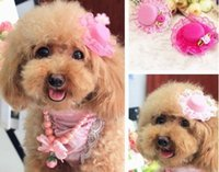Wholesale Dog Hairpin - Dog Hat clip Rose Lace Cute Little Hat Hairpin Pet Dog Top-Knot Hat accessoires cat hair clip
