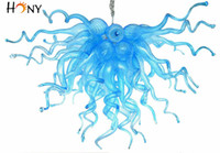 Wholesale Hand Glass Ornaments - Free Shipping Fashion Murano Glass Ornament Hand Blown Chandelier Blue Colored High Ceiling Mini Chandeliers Light