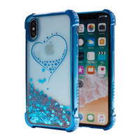 saydam sıvı glitter kasa not için toptan satış-Kaplama Quicksand case iPhone Için X iPhone 8 Artı Galaxy Not 8 S8 ArtıRhinestone Glitter Şeffaf Sıvı TPU kapak