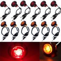Wholesale 12v Led Mini Strobe Light - 12x Amber & Red Round Bullet Clearance Side Marker Truck Trailer Mini LED Lights