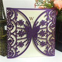 Wholesale printable lace resale online - HOT Purple Western Style Laser Cut Lace Flower Customizable Printable Wedding Invitations Cards Shipped by UPS