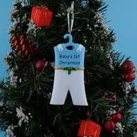 Wholesale Personalized Baby Girl Gifts - Baby 1st Resin Hang Boy Suit Girl Skirt Personalized Christmas Ornament As Craft Souvenir For Holiday Gifts Home Decor