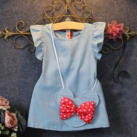 Wholesale Short Demin - 2016 New Toddlers Kids Baby Girl Dress bow Bag Ruffles Demin Casual Dresses 1-5Y