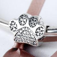 ingrosso zampa di perline-Autentico autentico argento sterling 925 Sterling Silver Paw stampe tallone 791714CZ adatto per braccialetto di fascino stile Pandora europeo