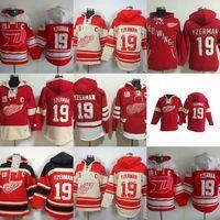 mens tam takım elbise toptan satış-Sıcak Satış Mens Detroit Red Wings 19 Steve Yzerman En Kaliteli Ucuz Tam Nakış Logolar Buz Hokeyi Hoodies Mix Sipariş Suit S-3XL Kabul