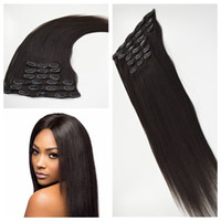 Wholesale human hair clips 1b for sale - Group buy 7pcs Brazilian yaki straight Clip In Hair Extensions Human Hair Natural color b Clip In Human Hair Extensions g G EASY