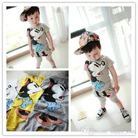 Wholesale Micky Pant - Childrens Boys Girls Sets Soft Cotton Summer Hot Cute Cartoon Printing Kids Boys Clothing Micky Short Sleeve Round Collar T shirt and Pants