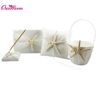 Wholesale Ivory Wedding Ring Pillow Sets - 4Pc set Ivory Wedding Ring Pillow + Flower Basket + Starfish & Seashell Wedding Guest Book + Pen Set Wedding Acceossories <$16 no tracking