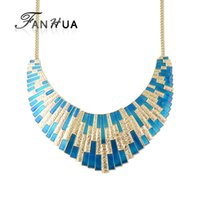 FANHUA New Geometric Choker Big Necklace Blue Enamel Bib Statement Colar Acessórios de moda Collier Femme