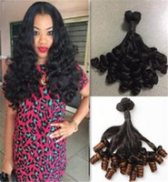 Wholesale Black Aunty - 8A aunty funmi Fumi hair Spiral Curly brazilian virgin hair loose wave wavy natural black 1B 27 color human hair extensions