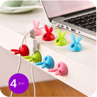 Wholesale Wholesale Office Organizers - Cute Design 4pcs Cable Winder Lovely Rabbit Shaped Cable Wire Organizer Bobbin Winder Wrap Cord Office Solid Tool