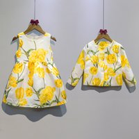 Wholesale Set Girls Autumn Dress Coat - 2016 Fashion children girls tulip printing outfits Autumn dress+coat 2pcs set Cotton baby outfits kids Clothes free shipping