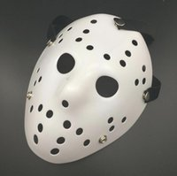 Weiße Gruselige Masken Kaufen -200 Stücke Halloween Weiß Poröse Männer Maske Jason Voorhees Freddy Horror Film Hockey Scary Masken Für Party Frauen Maskerade Kostüme