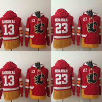 Wholesale 23 Sweatshirt - Mens Calgary Flames Hoodies Hockey Jersey 13 Johnny Gaudreau 23 Sean Monahan Sweatshirts Winter Jacket Red Free Shipping
